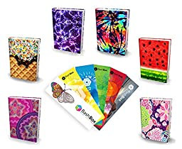 BashBox Book Sox Stretchable Jumbo Fabric Girls Book Covers Includes Spirograph, Sprinkles, Purple Lightning, Tye Dye, Watermelon & Berry Smoothie Designs & 6 Exclusive Bookmarks - 12 Item Bundle