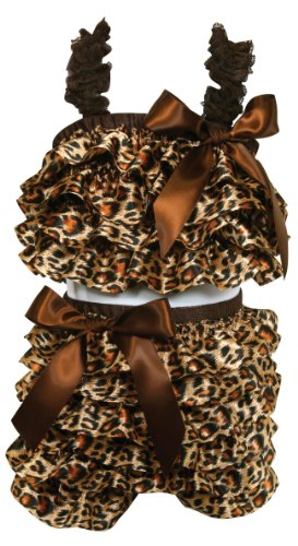 Stephan Baby Ruffled Flapper Top and Diaper Cover, Cheetah Print, 18-24 Months