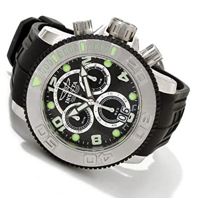 Invicta Men's 1063 Sea Hunter Chronograph Black Carbon Fiber Dial Black Polyurethane Watch