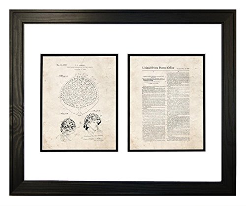 "Camouflaging Covering For Military Helmets Patent Art Old Look Print in a Solid Pine Wood Frame (20"" x 24"")"