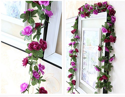 Meiliy 2 Pack 8.2 FT Fake Rose Vine Flowers Plants Artificial Flower Home Hotel Office Wedding Party Garden Craft Art Decor Purple ML-021pu