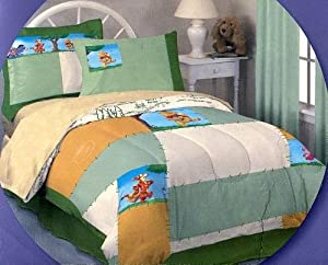 4 Piece Winnie the Pooh Twin Size Bed in a Bag Bedding Set ~ Quilted Comforter and Sheets