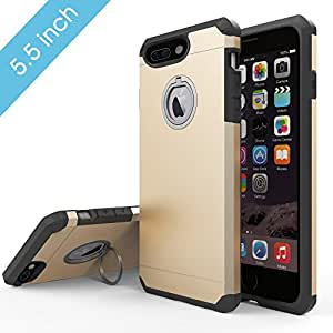Phone 7 Plus Case, TOP COVER Soft Touch Feeling Absorber Corner Heavy Duty Drop Proof Solid Armor Case for iPhone 7 Plus with Ring Kickstand-Gold