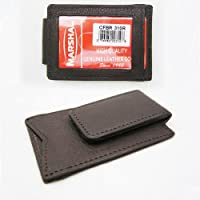 BROWN LEATHER MONEY MAGNETIC CLIP WALLET CREDIT CARD ID HOLDER MENS BILL SLIM !!