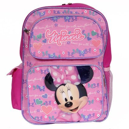14' Minnie Mouse Pink Backpack with Bows Hearts and Quotes all over the Backpack - 1