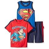 DC Comics Little Boys 3 Piece Superman T-Shirt Muscle T-Shirt and Shorts Set, Red/Blue, 6