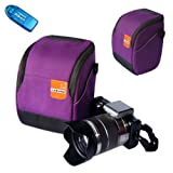 First2savvv high quality anti-shock purple Nylon camera case bag for olympus SP-810UZ with card reader