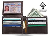 Mens Slim Leather RFID Blocking Wallet Extra Capacity Flip ID Window Two Cash Pockets (Brown)