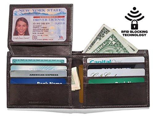 mens-slim-leather-rfid-blocking-wallet-extra-capacity-flip-id-window-two-cash-pockets-brown