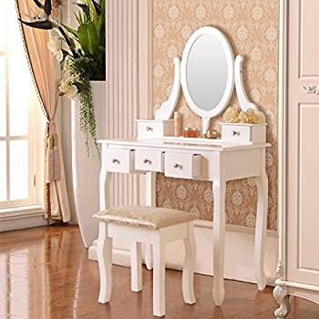 Elegance Wood Make-up Vanity Table with Stool & 5 Drawers,White