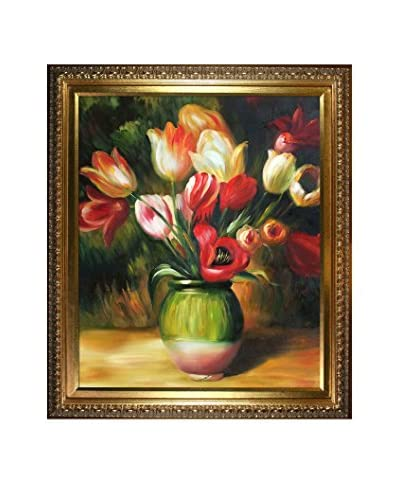 """Pierre-Auguste Renoir """"Tulips In A Vase"""" Framed Hand-Painted Oil Reproduction"""