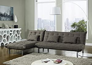 3 seater fabric sofa bed with recliner chaise and 3 for Brighton taupe 3 piece chaise and sofa set