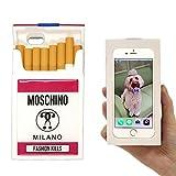 モスキーノ MOSCHINO iPhone6 iPhone6s スマートフォンケース カバー スマホケース シリコン シガレット タバコ (mos_280212z) (ホワイト(白))
