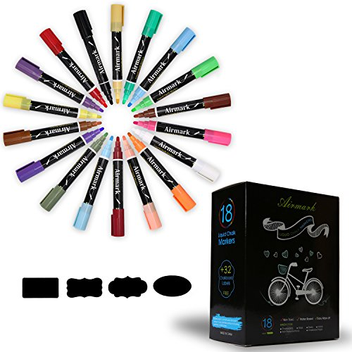 Airmark Liquid Chalk Markers Pens, 18 Colored Erasable 2 Extra 6mm Reversible Tip with 32 Reusable Chalkboard Labels,Washable eon Plus Earth Colors (Colored Paint Markers compare prices)