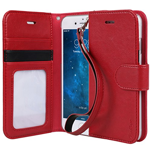 Iphone 6 Case, Toru® [Wristlet] Iphone 6 Case Wallet **New** [Prestizio] [Red] - Premium Pu Leather Wallet Case With Id Holder / Credit Card Slot / Inner Pocket / Wrist Strap / Stand Flip Cover - Verizon, At&T, Sprint, T-Mobile, International, And Unlocke