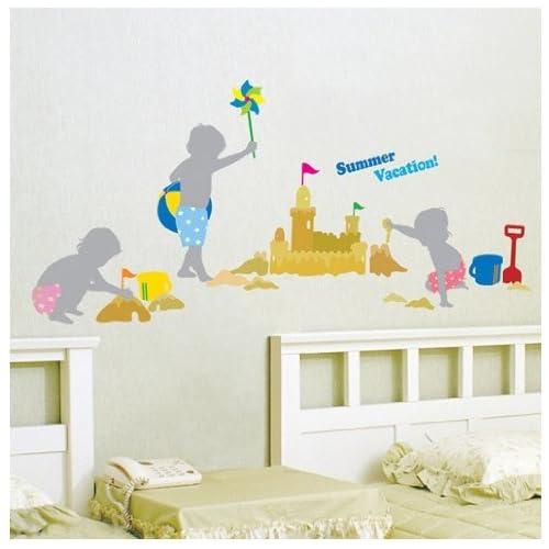 Jiniy SAND CASTLE ADHESIVE WALL ART DECOR Mural Decal STICKER(KR0027)