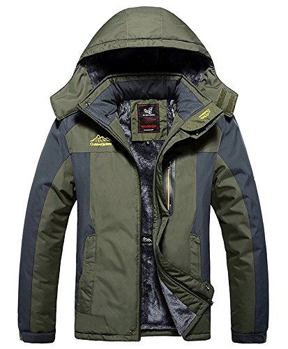Lega Men's Outdoor Waterproof Mountain Jacket Fleece Windproof Ski Jacket(Army Green/XL) (Fishing Jacket Waterproof compare prices)