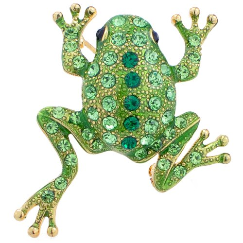 Green Frog Pin Swarovski Crystal Animal Pin Brooch