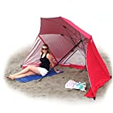 EasyGo BrellaTM Red -The Ultimate 2 in 1 Umbrella Shelter - Beach Cabana Tent Sun Shelter - Sets up in Seconds!! 100% Satisfaction Guaranteed