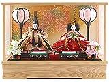 藤翁作 雛人形 ひな人形 ケース入り コンパクト ケース飾り 親王飾り 藤翁作 みゆき 豆親王 白 極上金襴仕立 オルゴール付 間口42×奥行24×高さ30cm 雛人形 ひな人形 ケース入り h283-fn-163-208