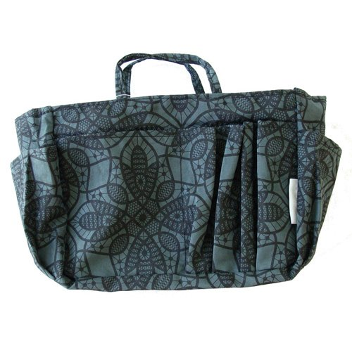 The Plaid Purse Bag Organizer – Black Flowers