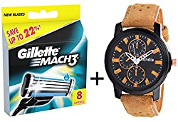 Gillette Mach 3 Blades - 8 Cartridges Pack & KiIndia Watch Combo( Free Watch ) SUPER SAVER PACK