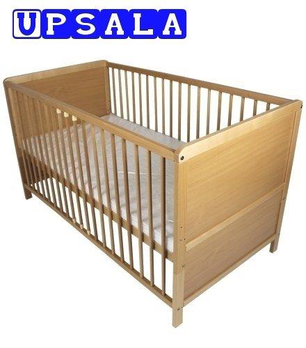 NEW BABY CHILD CLASSIC WOOD COT BED & ECO FOAM COTBED MATTRESS UPSALA 70 x 140