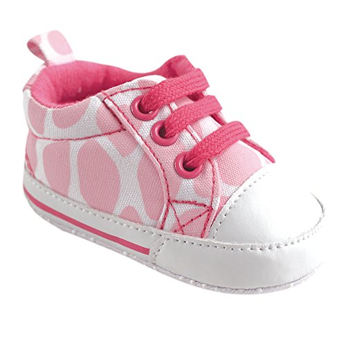 Luvable Friends Girl's Print Canvas Sneaker (Infant), Pink Giraffe, 6-12 Months M US Infant