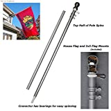 Aluminum 6' Foot Spinning Silver Flagpole for Grommet or House Flag