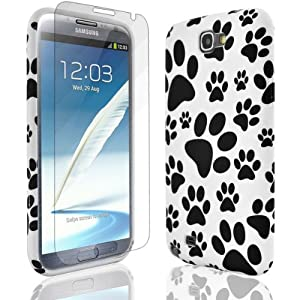 JJOnline White Black Pattern Paw Print Series Case Cover Skin For Samsung Galaxy Note 2 N7100 - Silicone Gel Rubber Plus Free Screen Protector