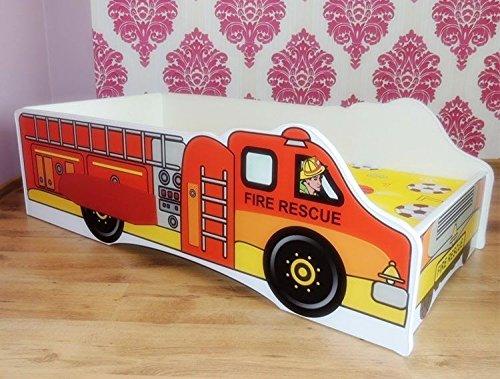 Lit camion Pompier+sommier+ matelas 140x70 cm