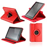 Leather Case Cover 360 Degree Rotating with Swivel Stand for Amazon Kindle Fire -Red