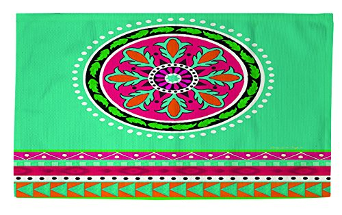 Thumbprintz Dobby Bath Rug, 4 By 6-Feet, Turquoise Boho Medallion Stripe front-480881
