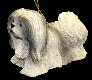 "4"" AKC Lhasa Apso Black Gray & White Canine Dog Christmas Ornament #86086"