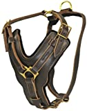 Dean and Tyler The Victory Solid Brass Hardware Dog Harness with Handle, Brown, Large - Fits Girth Size: 31-Inch to 41-Inch thumbnail