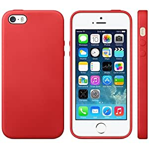Slim Color Flexible Back Cover Case For Apple iphone SE 5 5S - RED
