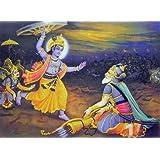 "Dolls Of India ""Krishna Lifts The Wheel Of The Chariot To Kill Pitamaha Bhishma During Kurukshetra War"" Reprint..."