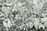 Glass Bead Assortment 250gramQuarter of 1kg bag White and Crystal Mix