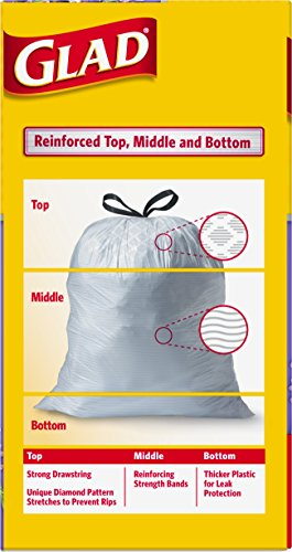 Glad OdorShield Tall Kitchen Drawstring Trash Bags, Mediterranean Lavender, 13 Gallon, 80 Count (Packaging May Vary)