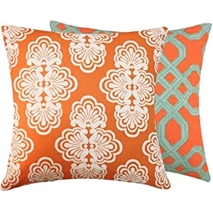 Chloe & Olive Mango Tango Couture Collection Floral Geometric Designer Reversible Pillow Cover, 20-Inch, Orange and Green