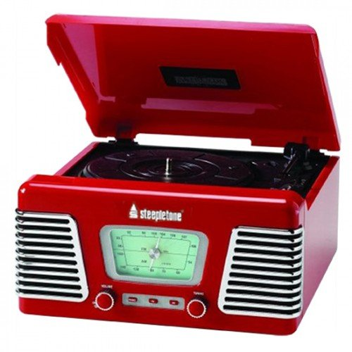 Steepletone Roxy 1 RX1 USB Nostalgic 1960s Style Record Player HIGH GLOSS RED (Music System: Turntable Black Friday & Cyber Monday 2014