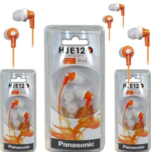 Panasonic Rp-Hje120 Ergofit In-Ear Headphones Stereo Earbuds (3-Pack, Orange)