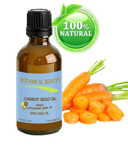 "Carrot Seed Oil 100 % Natural Cold Pressed Carrier Oil. 0.33 Fl.Oz.- 10 Ml. Skin, Body, Hair And Lip Care. ""One Of The Best Oils To Rejuvenate And Regenerate Skin Tissues."" By Botanical Beauty"