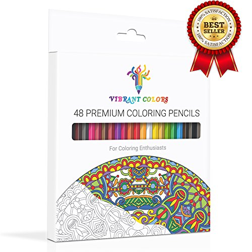 VIBRANT COLORS 48 Colored Pencils For Adult Coloring, Rich Watercolor Pencils with A Sharpener, Brush & BONUS Printable Coloring Book! Ready To Use Pre-Sharpened Pencils For Your Rich Experience.