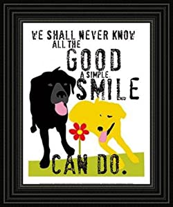 The Good a Simple Smile Can Do Framed Black and White Dog Red Art Poster Print Picture by Framed Art by art4cheap
