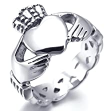 buy Women,Men'S Stainless Steel Ring Silver Irish Celtic Knot Irish Claddagh Friendship Love Heart Royal King Crown Polished Size13