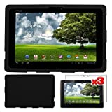 Premium 3 Packs of LCD Clear Screen Protector + Black Silicone Cover Case for Asus Eee Pad Transformer TF101 By Skque