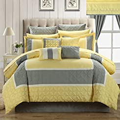 Aida Quilted 24 or 25 Piece Room In A Bag Comforter Bed Sheet Set with Window Treatments Yellow