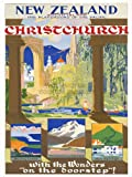 TRAVEL NEW ZEALAND CHRISTCHURCH LAKE MOUNTAIN SPRING ART PRINT POSTER 30X40 CM 12X16 IN BB7591B