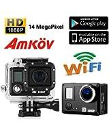 AMKOV Nouveau Caméra de Sport Étanche DVR 14MP Full HD 1080P WiFi Enregistreur Vidéo Casque Voiture avec Boîte étanche Support Casque AMK5000 DV - 170 degrés objectif grand-angle - Noir